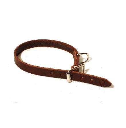 Halsband läder 12mm brunt